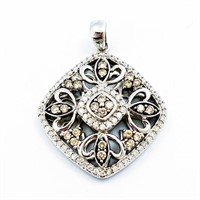 Designer Chocolate & White Diamond 14k WG Pendant