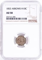 Coin 1853 Seated Liberty Half Dime NGC - AU58