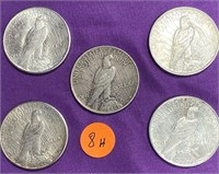 LOT OF 5 SILVER PEACE DOLLAR (SEE PICS)
