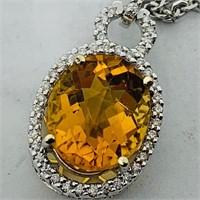 14KT WHITE GOLD 5.80CTS CITRINE & .40CTS DIAMOND