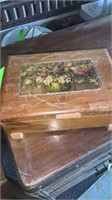 ANTIQUE WOOD JEWLERY BOX AND CONTENTS