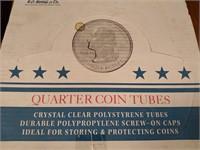 714 - FULL BOX OF CLEAR QUARTER COIN TUBES