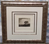91 - FRAMED & MATED TREES IN THE FIELD WALL ART