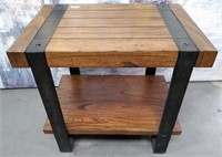 63 - SOLID WOOD & METAL SIDE ACCENT TABLE