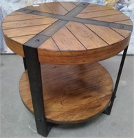 SUPER CUTE SOLID WOOD & METAL ROUND SIDE TABLE
