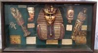 351 - SHADOW BOX W/ EGYPTIAN ITEMS INSIDE
