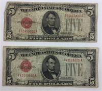 Pair of Circulated 1928c Red Seal Five Dollar Bill
