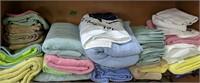 Shelf Lot Of Towels, Blanket Etc