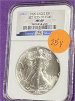 """1990 """"MS69"""" - AMERICAN EAGLE SILVER DOLLAR (25Y)"""