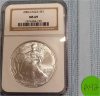 """2006 """"MS69'' - AMERICAN EAGLE SILVER DOLLAR (A42)"""