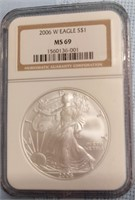 (A37) GRADED 2006-W AMERICAN SILVER EAGLE MS69