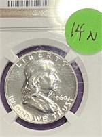 (14N) GRADED 1960 FRAKLIN SILVER HALF DOLLAR PF67