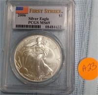 """2006 """"MS69"""" AMERICAN EAGLE SILVER DOLLAR (A23)"""