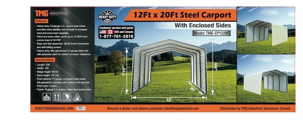 TMG INDUSTRIAL 12'X20' ENCLOSED STEEL CARPORT