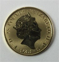 2020 Great Britain 1/4 oz Gold Queens Beasts