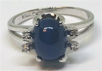 14KT WHITE GOLD STAR SAPPHIRE AND DIAMOND RING