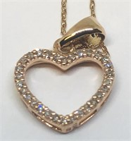 10KT ROSE GOLD DIAMOND HEART PENDANT WITH CHAIN