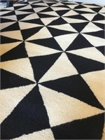 Black and white wool  area rug
