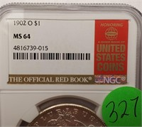 "1902 ""O"" ""MS64"" MORGAN SILVER DOLLAR (327)"