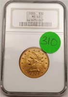 (310) GRADED 1893 $10 LIBERTY HEAD GOLD COIN MS63