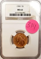 (314) 1900 $5.00 US GOLD COIN GRADED MS63