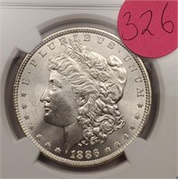 "1886 ""MS64"" MORGAN SILVER DOLLAR (326)"