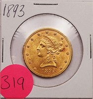 (319) 1893 $10 US GOLD LIBERTY COIN