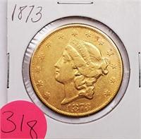 (318) 1873 $20 US LIBERTY GOLD COIN