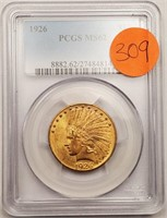 (309) GRADED 1926 INDIAN US $10 GOLD COIN