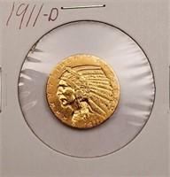 (320) 1911-D $5 GOLD INDIAN