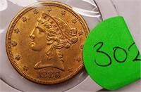 (302) 1886 $5 LIBERTY GOLD COIN