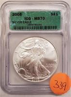 """2008 """"MS70"""" - AMERICAN EAGLE SILVER DOLLAR (339)"""