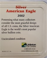 """LOT OF 2 - SILVER AMERICAN EAGLE """"DOLLARS' """"2002"""""""