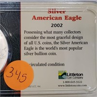 """LOT OF 2 - SILVER AMERICAN EAGLE """"DOLLARS"""" (345)"""