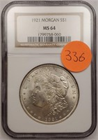"1921 ""MS64"" MORGAN SILVER DOLLAR (336)"