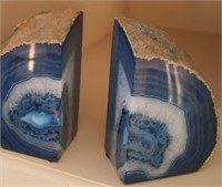 814 - STUNNING AGATE BOOK ENDS