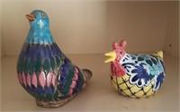 814 - HANDPAINTED CERAMIC BIRD & CHICKEN