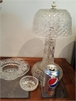 815 - GLASS LAMP, SERVING DISH, SMALL BOWL