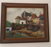 814 - ART: FRAMED & SIGNED COASTAL VILLAGE