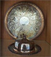 814 - SILVER PLATE TRAY & COVERED DISH