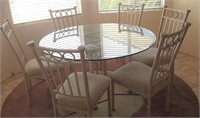 814 - ROUND GLASS TOP TABLE W/6 CHAIRS