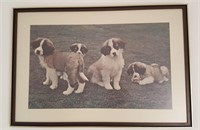815 - ART: FRAMED PUCTURE OF 4 PUPPIES