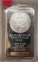 (376) 10 OUNCE SILVER BAR SUNSHINE MINT