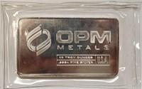 (377) 10 TROY OZ SILVER BAR OPM METALS