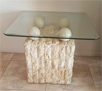815 - INTERESTING SQUARE ACCENT TABLE W/GLASS TOP