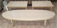 (B1) - OVAL COFFEE TABLE & 2 ACCENT TABLES