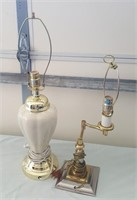 815 - WHITE CERAMIC LAMP; METAL LAMP NO SHADES