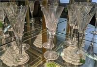 "6 Waterford 9.25"" Champagne Flutes. Millennium"