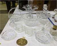 Crystal Epergne, Bowl, Basket, Oil Lamps Etc