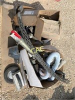 Pallet of Bolts, trailer jack misc items